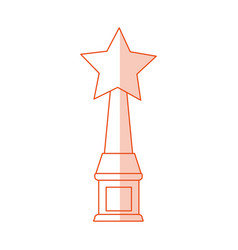 Red silhouette shading image trophy with symbol vector