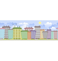 seamless border with cute houses for you design vector image vector image
