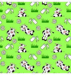 seamless cow background vector image vector image