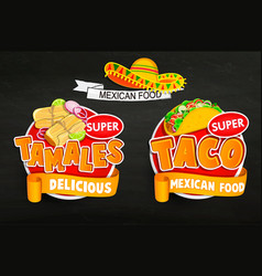 set od traditional mexican food logos emblems vector image
