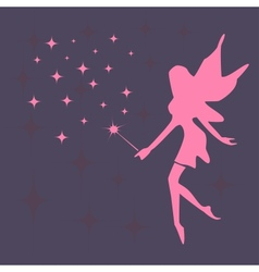 Silhouette of a fairy and stars vector