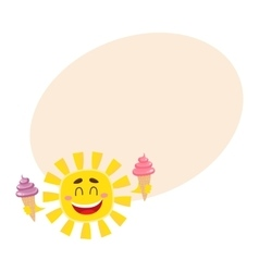 Smiling happy sun holding ice cream isolated vector