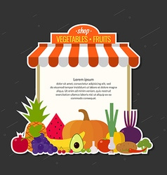 Store fresh vegetables and fruits organic food vector