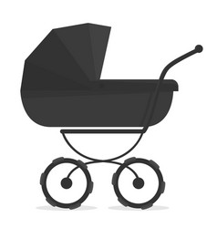 Stroller on white black and white silhouette for vector