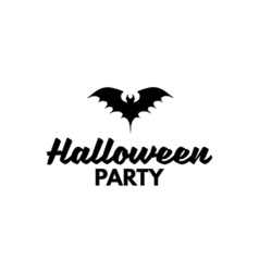 The silhouette of a bat sign halloween party badge vector