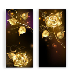 Two Banners with Gold Roses vector image vector image