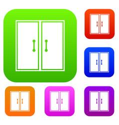 Two glass doors set collection vector