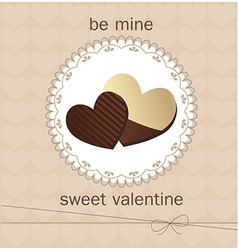 Valentines Day card with chocolate vector image