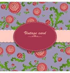 Vintage card on floral blue background vector
