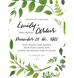 wedding invitation floral invite card design with vector image vector image