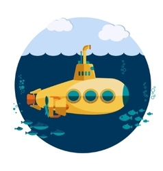 Yellow submarine undersea vector