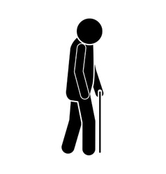 Icon silhouette elderly man with walking stick vector