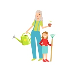 Grandmother And Granddaughter Gardening Part Of vector image
