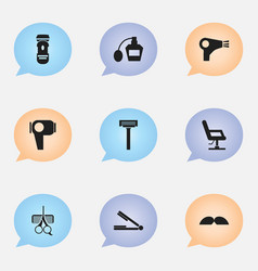 Set of 9 editable coiffeur icons includes symbols vector
