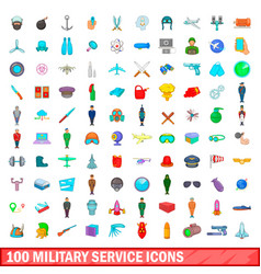 100 military service icons set cartoon style vector