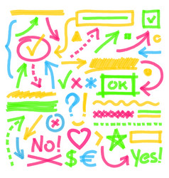 Highlighter marks strokes arrows and other vector