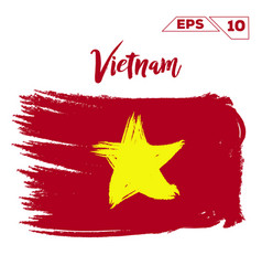Vietnam flag brush strokes painted vector