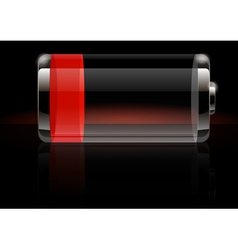 Glossy transparent battery icon red vector