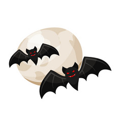 Halloween vampire bats and a full moon halloween vector