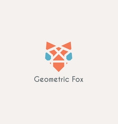 geometric fox head emblem vector image