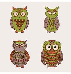 set of decorative cute owls vector image