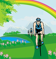 Training cyclists in the mountains vector