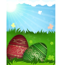 Red and green easter eggs in grass vector