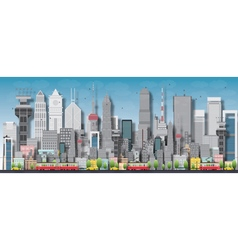 Big city with skyscrapers and small houses vector