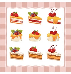 Collection of cakes on white background vector
