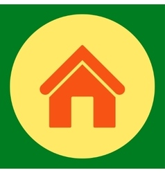 Home flat orange and yellow colors round button vector