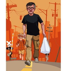 Cartoon men with bags go through the city vector