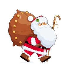 Santa claus with gift sack vector
