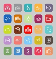 Retirement community line flat icons vector