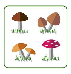 Mushroom icons set 1 vector