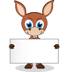 Donkey with blank sign vector
