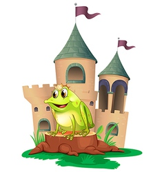 A frog prince with a castle at his back vector
