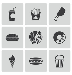 black fast food icons set vector image