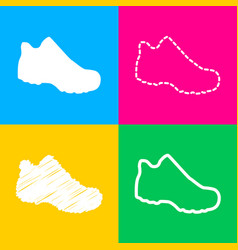 Boot sign four styles of icon on four color vector
