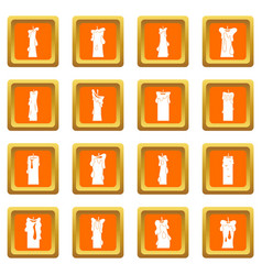 Candle forms icons set orange vector