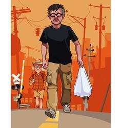 cartoon men with bags go through the city vector image vector image