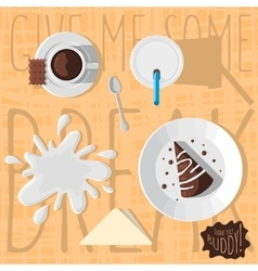 Chocolate cake with glaze paper mug of milk cup vector
