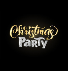 Christmas party hand written lettering on black vector