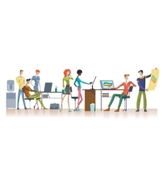 Colorful Office Teamwork Template vector image