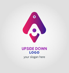 colorful up and down arrow logo template using vector image vector image