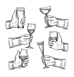 different alcoholic drinking vector image vector image
