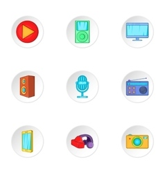 Electronic gadget icons set cartoon style vector