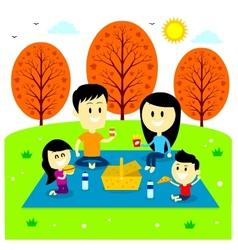 Family fun picnic at the park vector