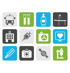 Flat medicine and healthcare icons vector