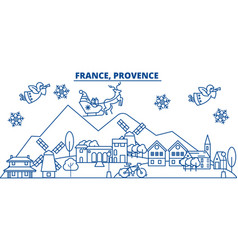 France provence winter city skyline merry vector