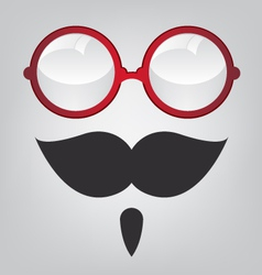 Funny mask red sunglasses and mustache vector image